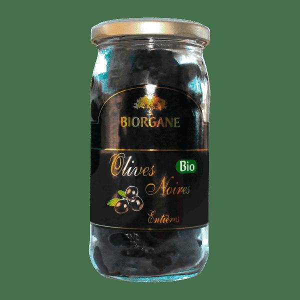 Olives noires bio entières 230g en bocal de chez Biorgane