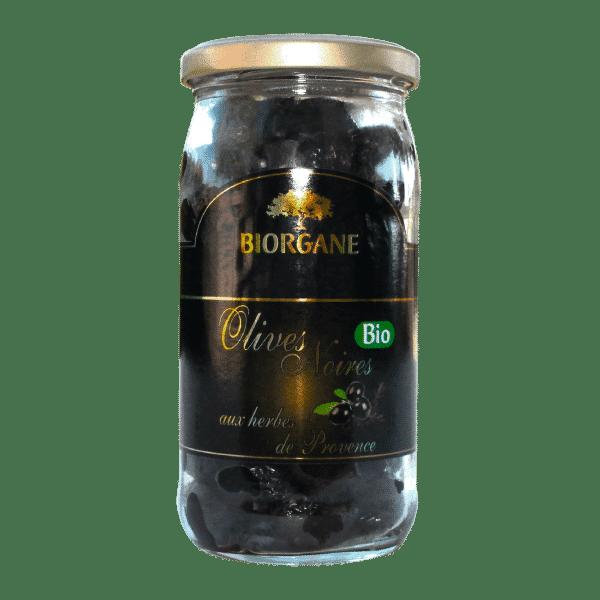 Olives noires bio entières aux herbes de Provence