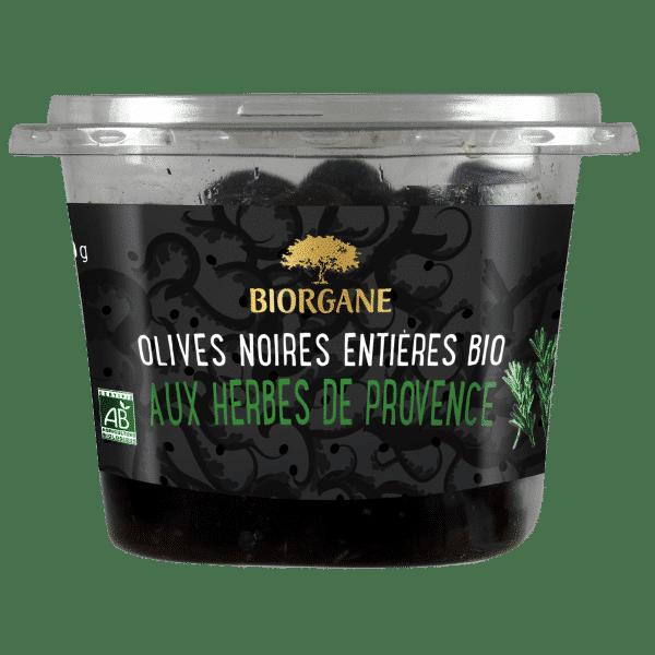 Olives noires entières bio aux herbes de Provence Biorgane