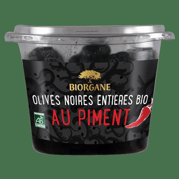 Olives noires entières bio au piment Biorgane