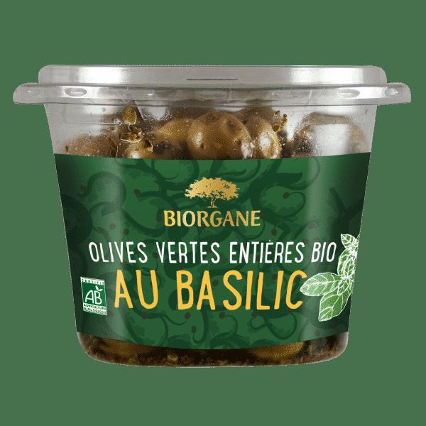 Olives vertes entières bio au basilic Biorgane