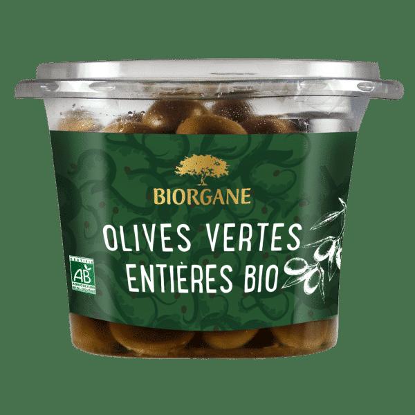 Olives vertes entières bio natures Biorgane