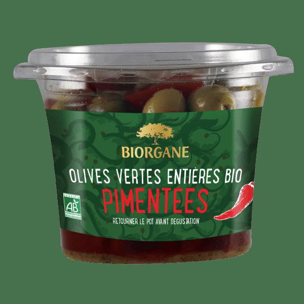 Olives vertes entières bio pimentées Biorgane