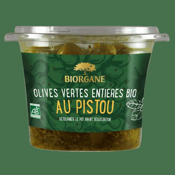 Olives vertes entières bio au pistou Biorgane